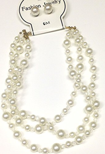 imported-three-strand-white-pearl-short-chain-necklace-and-earrings