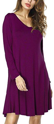 Tandisk Womens Tunic Casual Short Sleeve Swing Loose T Shirt Dress