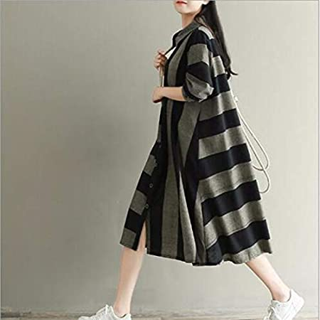 Amazon.com: Autumn Water Girl Autumn Winter Retro Shirt Dress Turn Down Collar Long Sleeve Striped Loose Casual Dress: Kitchen & Dining
