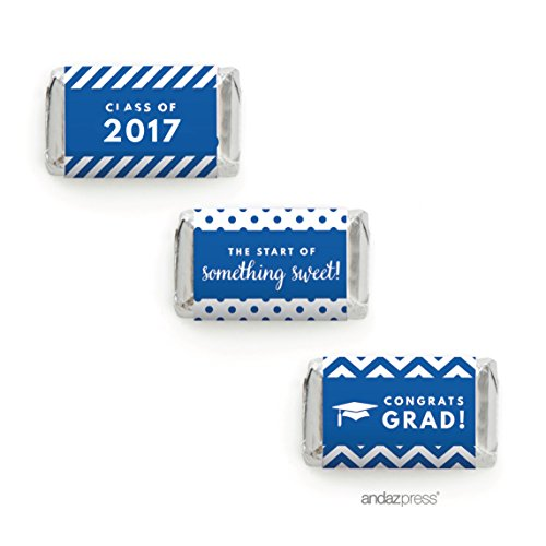 Andaz Press Chocolate Minis Labels Trio, Fits Hershey's Miniatures, Graduation 2017, Royal Blue, 36-Pack, For Junior High School, College, University Party Decor