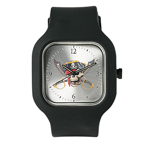 Black Fashion Sport Watch Pirate Skull Eyepatch Gold Tooth