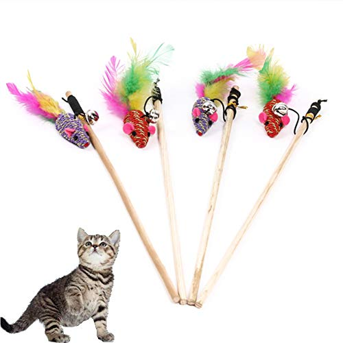 Ati nice Cat Toy 4PCS Wood Pole Pheasant Feather Braided Mouse Suitable for Indoor Cats and Kitten The Best Gift for Cats Cat Wand