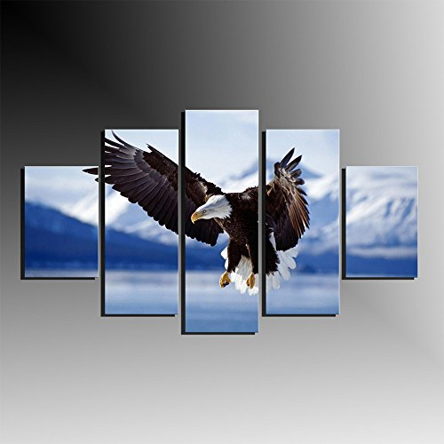 5 Panel Modern Flying Bird Wall Art Decoration Printed Animal Oil Painting Bald Eagle Canvas Prints Bedroom Pictures No Frame