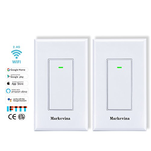 Markevina Smart WiFi Light Switch APP Control from Anywhere Compatible with Alexa Google Home, Timing Schedule, Overload Protection No Hub Required -15A Nuetral Wired Required (2 Pack (App Switch)