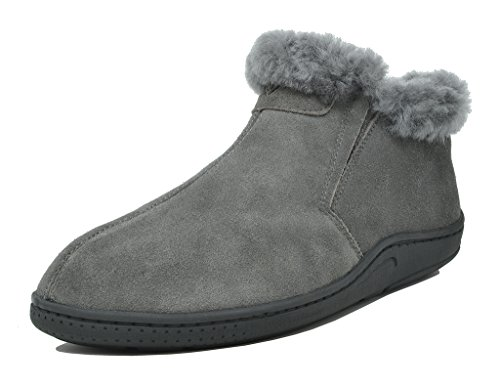 DREAM PAIRS Men's Sole-Furry-01 Grey Sheepskin Fur Slippers Loafers Shoes Size 11 M US