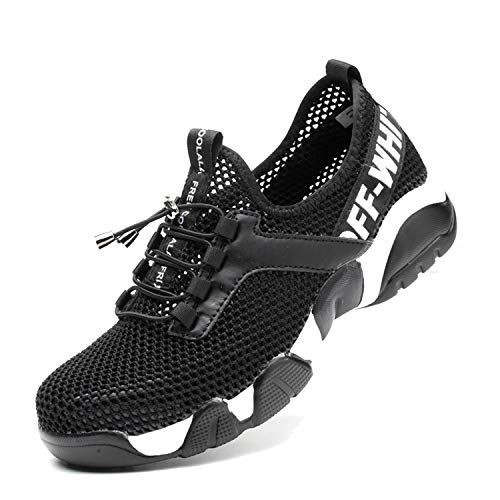 SUADEX Indestructible Steel Toe Shoes Men Women, Work Safety Shoes Slip Resistant Working Shoes Industrial Construction Sneakers for Summer 905a Black Size 8-8.5 Women/6.5-7 Men