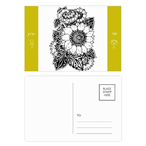 Sunflower Black White Flower Plant Friend Postcard Set Thanks Card Mailing Side 20pcs by DIYthinker