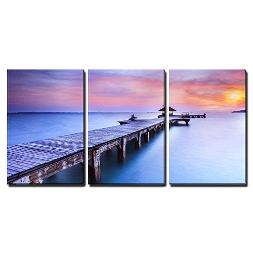 wall26 - 3 Piece Canvas Wall Art - Wooded Bridge in The Port Between Sunrise. - Modern Home Decor Stretched and Framed Ready to Hang - 24