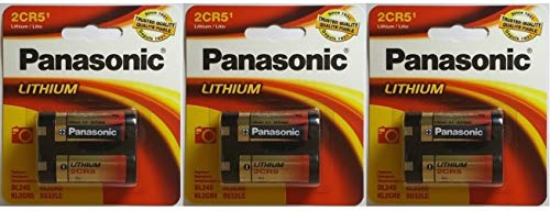 Panasonic 2CR5 6-Volt Photo Lithium Cylinder Batteries 2CR5M 3 Pack