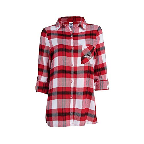 (Concept Sport Georgia Bulldogs Womens Long Sleeve Team Pride Flannel Button Up - Red, Womens)