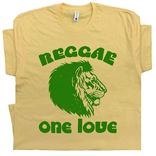 XXXL - One Love Reggae Lion T Shirt Vintage Rasta Bar Bob Tee Jamaica Music Sublime Marley Africa Jah Peace Love Oneness Yellow
