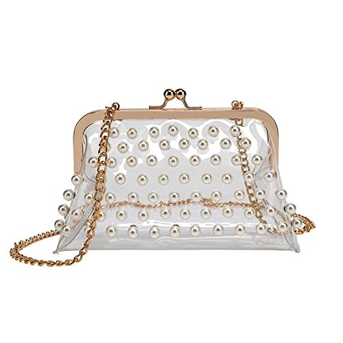 - Women Girls Clear Beaded Messenger Shoulder Cross Bags Purses Kiss Lock See Through Clutch Handbags (white)