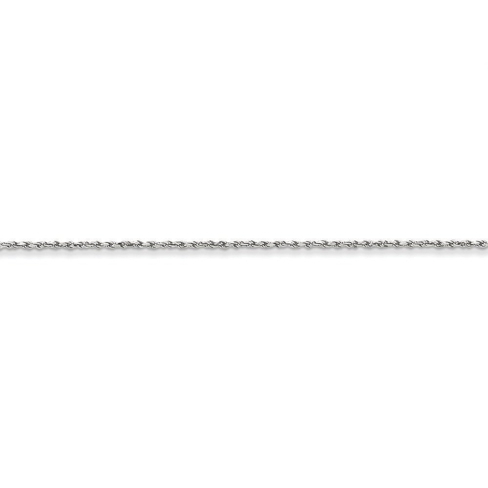6 inches 14K White Gold 1.30MM Diamond-Cut Rope Link Bracelet
