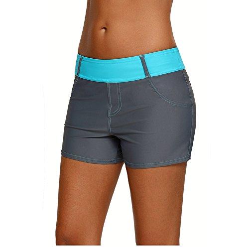 QDASZZ Women's Adjustable Swimsuit Tankini Bottom Board Shorts,Comfort Quick Dry Stretch Board Short (Grey+Blue, (US12-14) L)