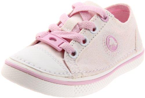 Crocs Hover Metallic Lace-Up Sneaker (Toddler/Little Kid/Big Kid),Gold/Bubblegum,13 M US Little Kid