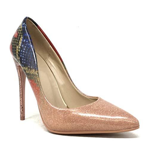 Verniciato Stiletto Stampa Cm Alto Rosa Con Donna Serpente Sera Moda Glitter 11 Da Decollete Angkorly Tacco Sexy Scarpe FgUqwxOgcX