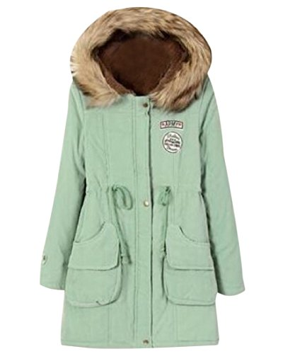 Tunic Thick Pea Colored Hood Jacket As Picture Women's Coat Mogogo Collar Fur Solid qfxOqtIZ