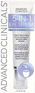 Advanced Clinicals 5-in-1 Multi Correction Anti-Aging Eye Serum with Retinol, Collagen, Vitamin C, and Manuka Honey. For dark circles, wrinkles, crow's feet, fine lines. Large 2oz airless tube.