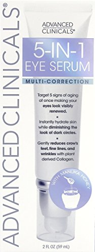 Advanced Clinicals 5-in-1 Multi Correction Anti-Aging Eye Serum with Retinol, Collagen, Vitamin C, and Manuka Honey. For dark circles, wrinkles, crow's feet, fine lines. Large 2oz airless tube. (Eye Serum Renewing)