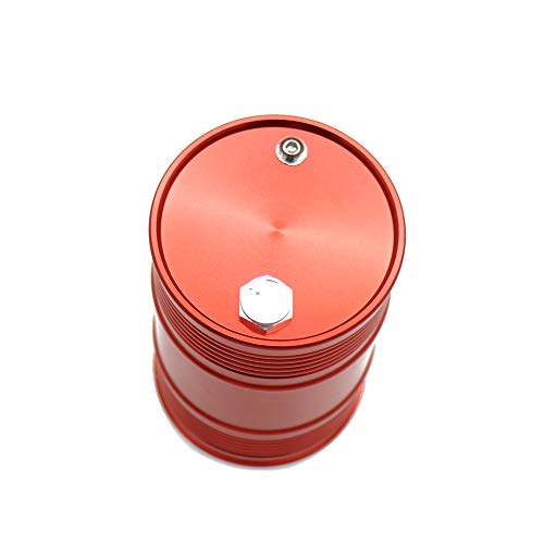 RCAWD Aluminum Alloy Oil Drum Anodized CNC Machined for Rc Hobby Car Crawler Scale Parts(Red)