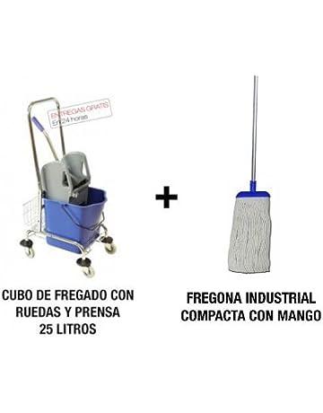Pack profesional de limpieza de suelos. Cubo de fregado 25L con ruedas y prensa y
