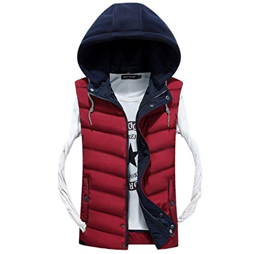 Hooded Jacket Sizes Jacket Winered Warm Vest Clothing Down Winter Vest Ultralight Fashion Men's Coat Comfortable Shirt Quilted Down Sleeveless vZXqAw