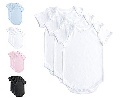 Soft Cotton Onesies, Short Sleeve Lap Shoulder Bodysuit, WSSE White 18-24 3-Pack