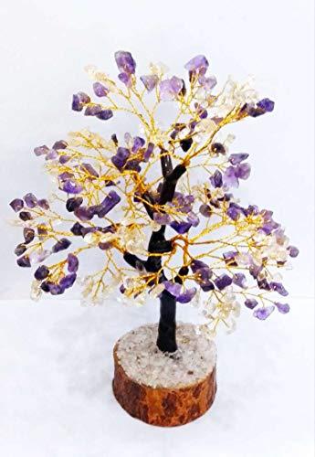 (Crocon Natural Healing Gemstone Crystal Bonsai Fortune Money Tree for Good Luck, Wealth & Prosperity Spiritual Gift Size 10-12 Inch (Citrine & Amethyst (Golden Wire)) )