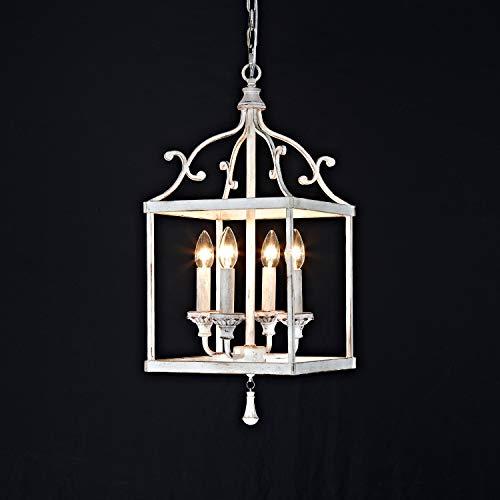 4 Light Rustic Chandelier Pendant Lighting,White Lantern Pendant Light Vintage Style ,Farmhouse White Chandelier…