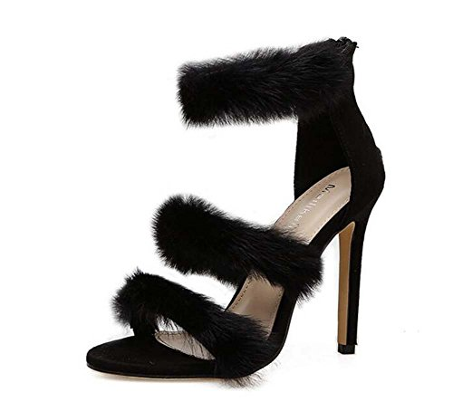 Eu Plush Dress Ankel D'orsay Pure Shoes Toe Color Women Sandals Roma 34 Shoes Stiletto Size Straps Black Shoes Plush Fashion 11cm 40 Pump Heel OL High Hollow Party Open PYSaq