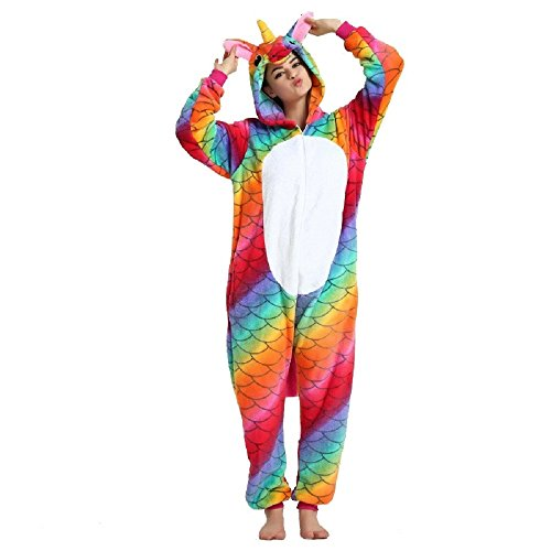 Rainbow Fox Homewear Adults Unicorn Pajamas Unicorn Cosplay Costume Sleepwear Halloween Costumes (Small, Red) - Red Fox It Adult Womens Costumes