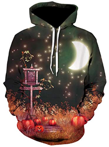 Losait Men Funny Halloween Relaxed-Fit Tunic Sweatshirts with Hood 12 XS -