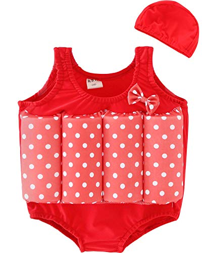 CHARMCZ 2018 Boys Girls Swimming Float Suit Adjustable Buoyancy Life Jacket Training Swimsuit with Cap Arm Bands for 1-6Y (3-4Y/Height38-40, A-Red)