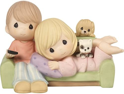 Precious Moments 172005 You re My Favorite Place To Be Couple Together on Couch Bisque Porcelain Figurine