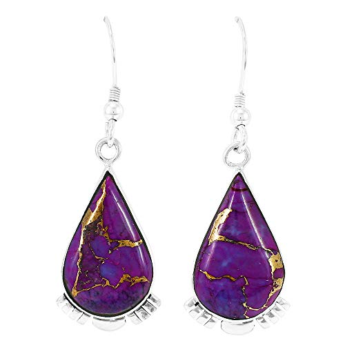 (Turquoise Earrings 925 Sterling Silver & Genuine Turquoise (Purple Turquoise))