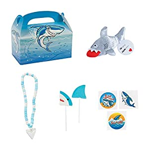Valentines Day Shark Gift Bundle Including Shark Treat Box, Valentines Shark Plush, Shark Tooth Candy Necklace, 2- Assorted Shark Lollipops and 9 - Assorted Shark Tattoos