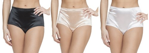 Platinum Lingerie Women's Plus Size 3 Pack Multicolor Satin Look High Waist Full Briefs Black White Nude 1X