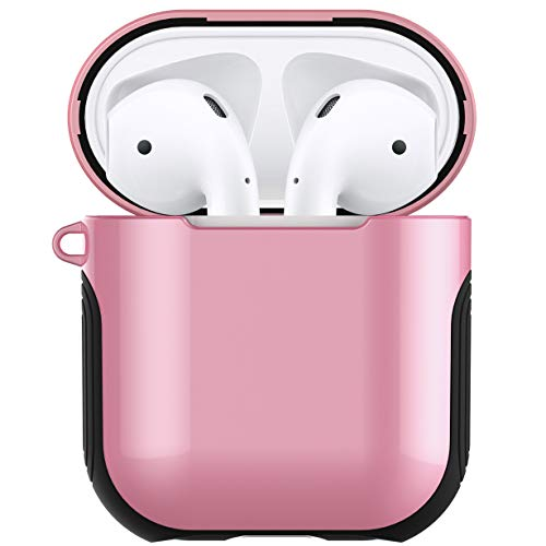 Airpods Case Cover Skin - Romozi AirPod Skins Compatible AirPods 2&1 Charging Case, Shock Resistant Silicone & Hard Plastic AirPod Case with Lanyard for Apple Airpods Accessories -Pink