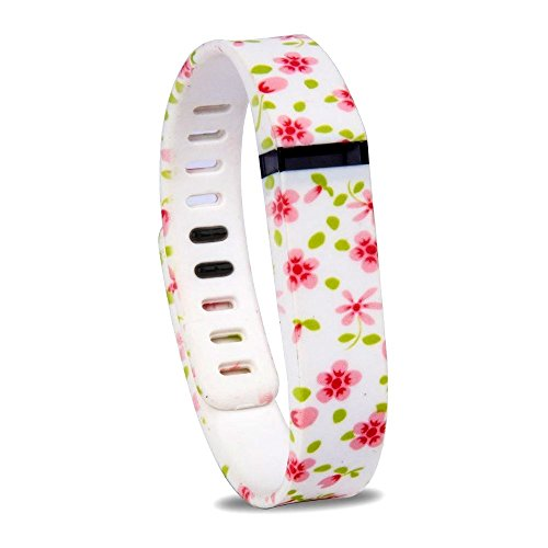 Chaomingzhen Replacement Bands Wireless Activity Bracelet Sport Wristband Accessory with Metal Clasps for Fitbit Flex Purple Flower Pattern