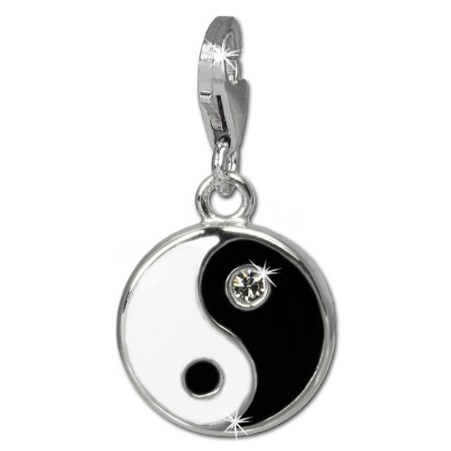 SilberDream Charm -Ying and Yang- black and white enameled 925 Sterling Silver Pendant FC840S