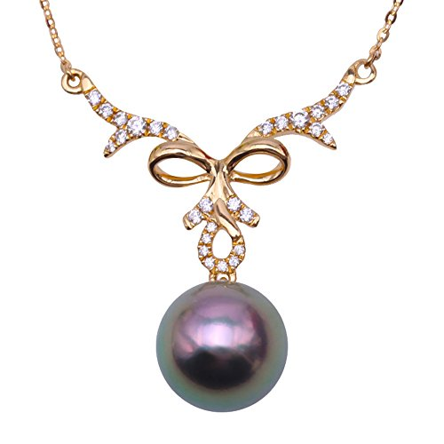 - JYX Black Pearl 14K Yellow Gold Pendnat Seawater Pearl Jewelry AAA Quality 10mm Black Tahitian Cultured Pearl Pendant Necklace for Women