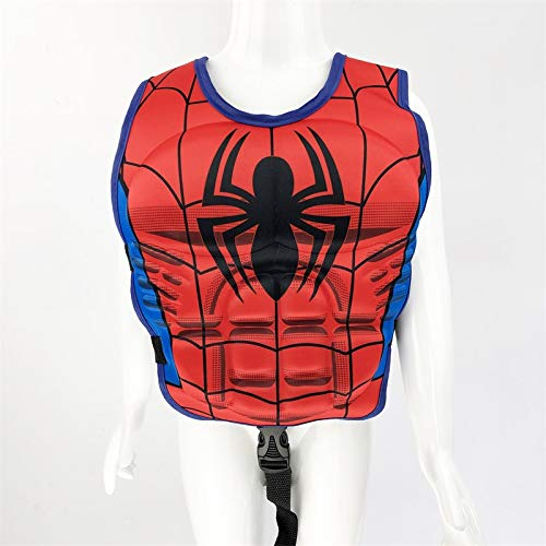 MYSportsworld L Professional Children's Floating Vest Buoyancy Vest Buoyancy Swimsuit 3D Muscle Super Hero Spiderman Cartoon Life Jacket (Muscle Spiderman, L) (Spiderman Floating)