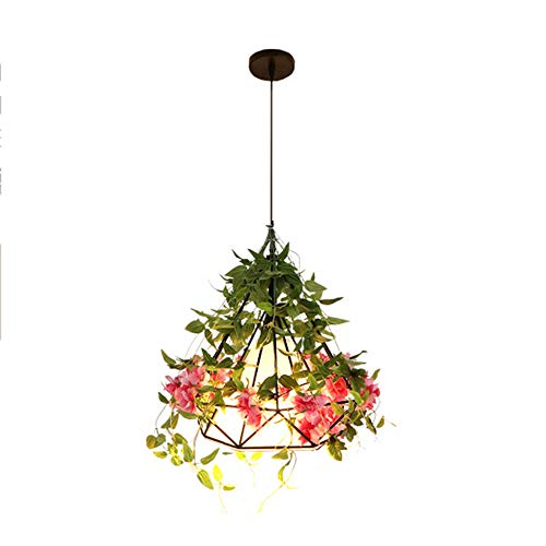 Cherry Hall Pendant - Tlinksy Cherry Blossom Chandelier Restaurant Cafe Bedroom Balcony Garden Diamond Shaped Iron Cage Pendant Light,A,25CM
