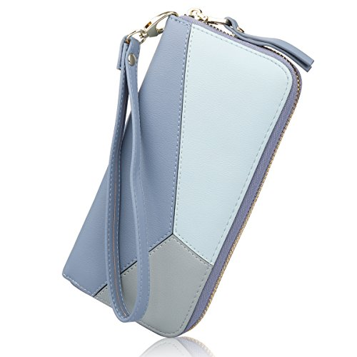 Women's Long Leather Card Holder Purse Zipper Buckle Hit Color Wallet(Blue)