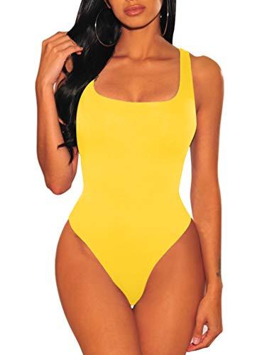 LAGSHIAN Women's Sexy Summer Bodycon Sleeveless Tank Top One Piece Leotard Bodysuit Yellow