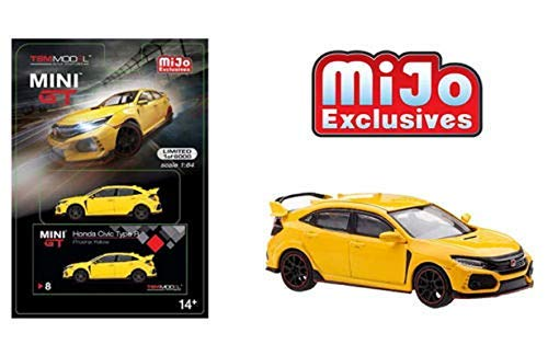 2017 Honda Civic Type R (FK8) (LHD) Phoenix Yellow Limited Edition to 6,000 Pieces Worldwide 1/64 Diecast Model Car by MINI GT MGT00008