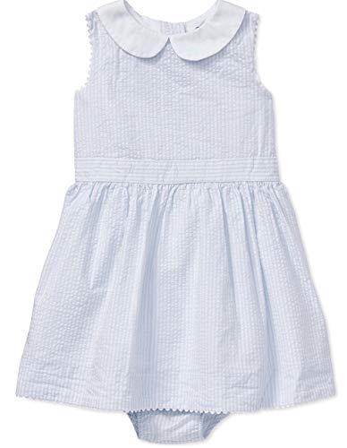 Ralph Lauren Baby Girls Cotton Seersucker Dress & Bloomer Size 3 Months Blue