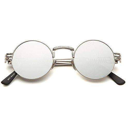 7e66968d2e9 Dollger John Lennon Round Sunglasses Steampunk Style Sturdy Metal Spring  Frame Mirror Lens  Amazon.co.uk  Clothing