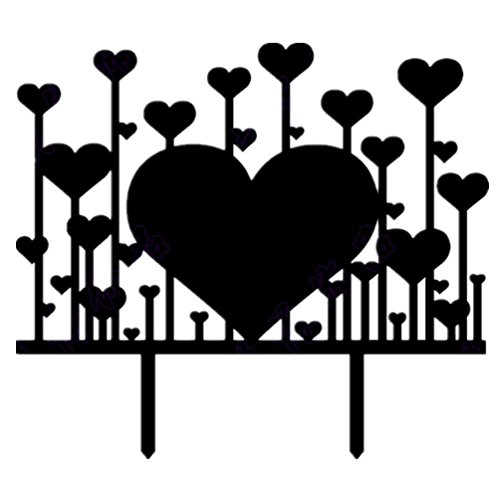 Creative love forest Cake Topper Decoration,2/group black ()
