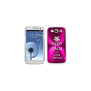 Hot Pink Samsung Galaxy S III S3 Aluminum Plated Hard Back Case Cover K1440 Keep Calm and Love Turtles by icecream design